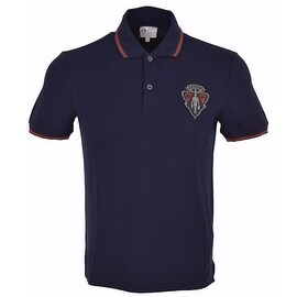 New Gucci Men's Blue SLIM Fit Hysteria Crest Web Stripe Polo Shirt Medium