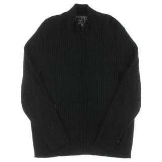Alfani NEW Black Mens Size Large L Full Zip Ribbed Solid Sweater