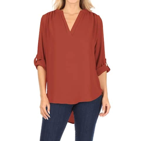 Casual V-Neck Woven Roll Up Sleeve Lightweight Blouse Top