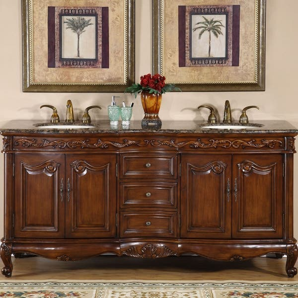 Silkroad Exclusive Stone Counter Top Double Sink Cabinet 72 Inch Bathroom Vanity On Sale Overstock 6309156 Baltic Brown Granite Top