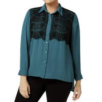NY Collection Black Women's Plus Chiffon Blouse