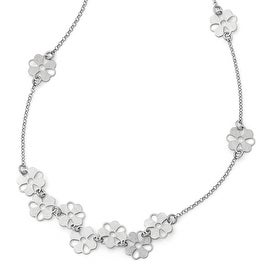 Italian Sterling Silver Brushed Flower Necklace - 19 inches