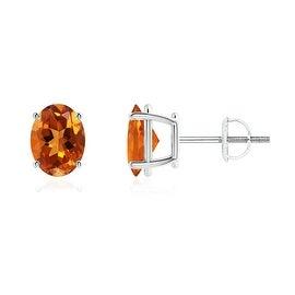 Prong Set Oval Solitaire Citrine Stud Earrings