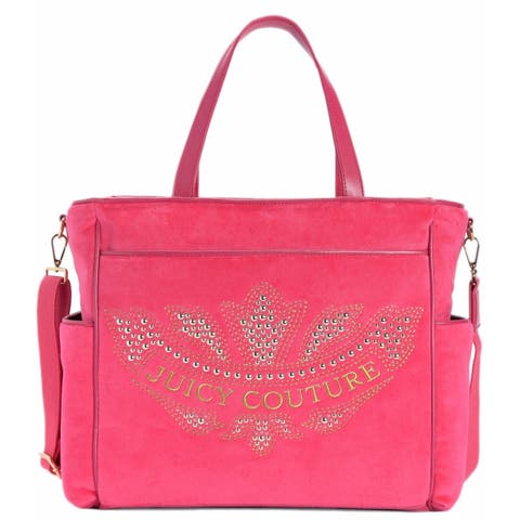 Juicy Couture Pink Velour Marrakech Cameo Baby Diaper Bag