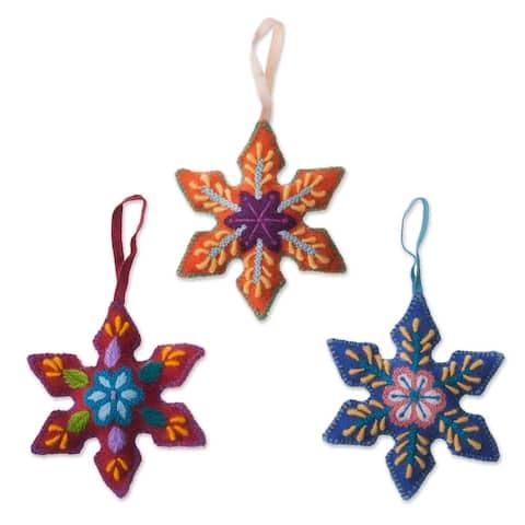 Novica Handmade Colorful Snowflakes Wool Ornaments (Set Of 3)