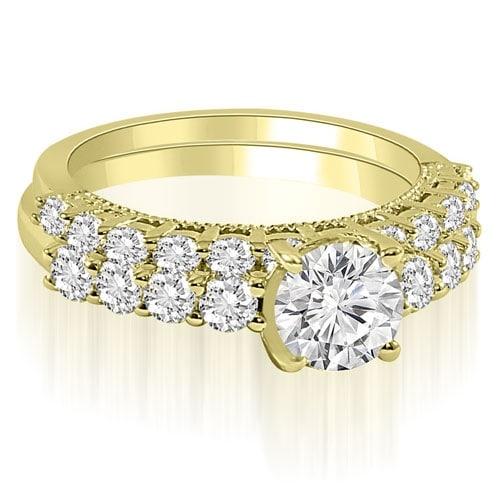 2.20 cttw. 14K Yellow Gold Antique Milgrain Round Cut Diamond Bridal Set