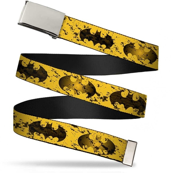 Blank Chrome Buckle Bat Signal 1 Weathered Yellow Black Webbing Web Belt