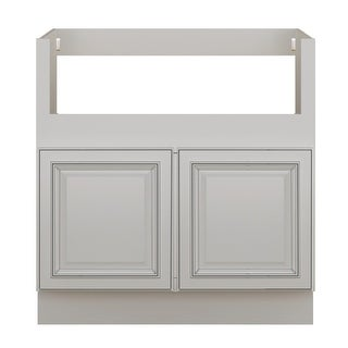 "Sunny Wood SLB33FS-A  Sanibel 33"" Wide x 34-1/2"" High Double Door Base Cabinet - Off White with Charcoal Glaze"