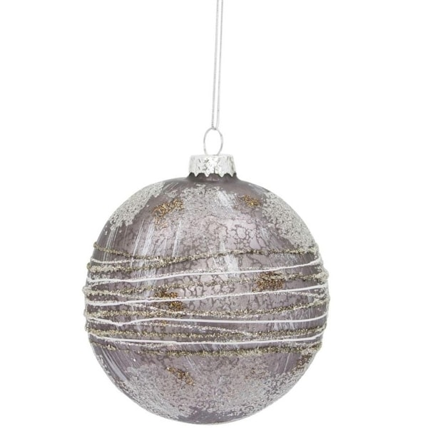 Pack of 12 Decorative Glass Silver and Gray Ball Ornaments