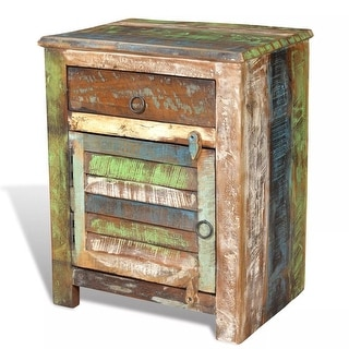 vidaXL End Table with 1 Drawer 1 Door Reclaimed Wood