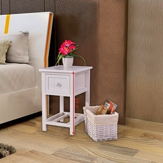 Costway Night Stand 2 Layer 1 Drawer Bedside End Table Organizer Bedroom Wood W/Basket