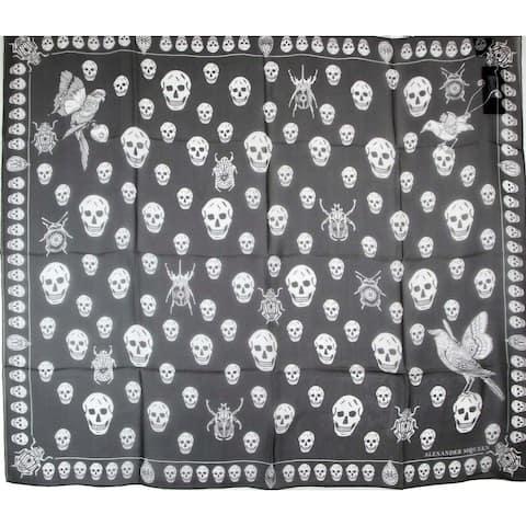 Alexander McQueen Women's Black / Ivory Skull Chiffon Silk Foulard Scarf 538987 1078 - One Size