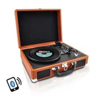 Portable Vintage Classic-Style Bluetooth Turntable System with Vinyl-to-MP3 Recording, Built-in Speakers & Rechargeable Battery