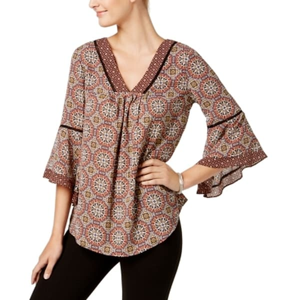 NY Collection Red Women Size Small S Medallion Angel Sleeve Blouse