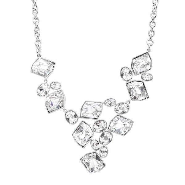 Crystaluxe V-Shape Necklace with Swarovski Crystals in Sterling Silver - White
