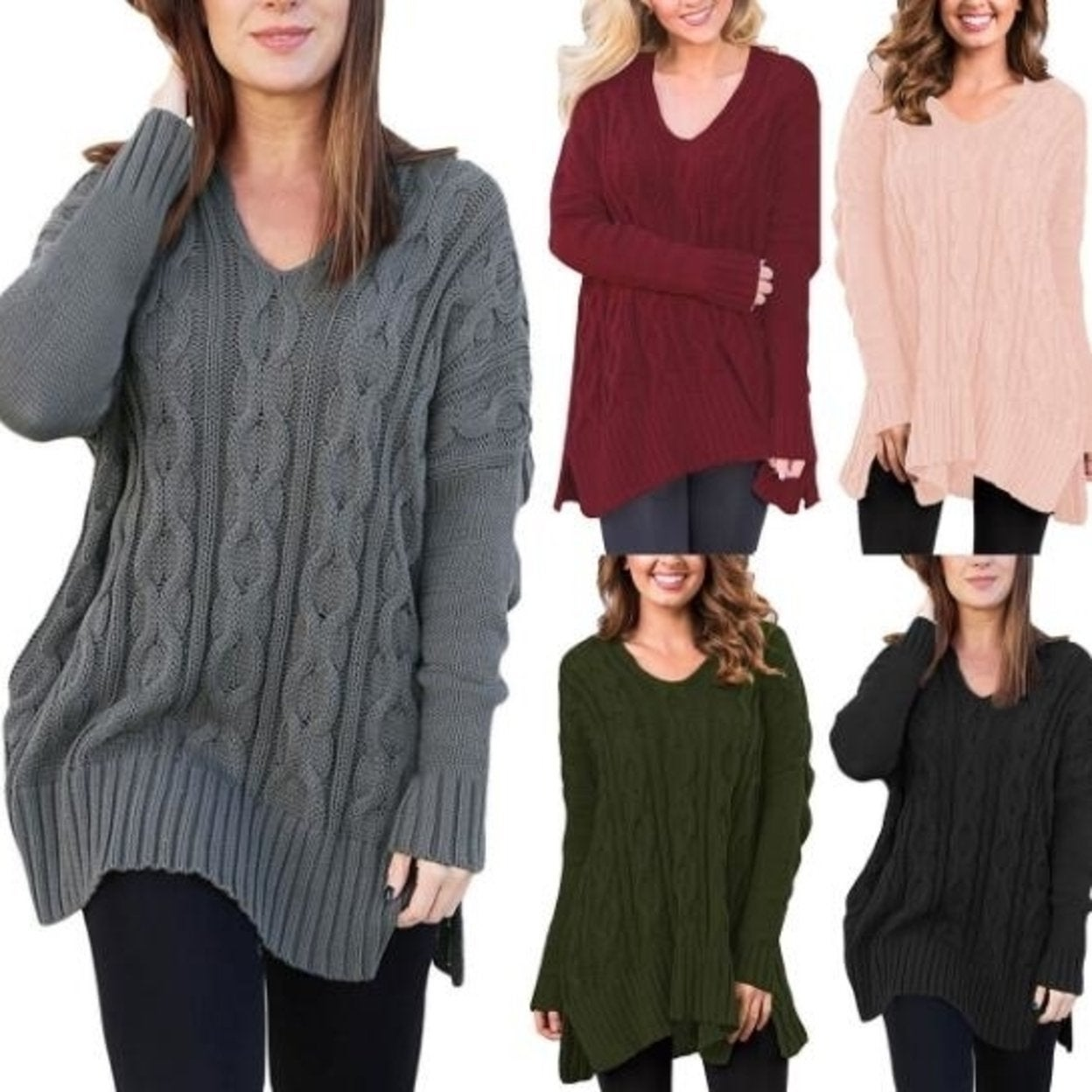 Women Winter Casual V Neck Loose Fit Knit Sweater Pullover Top