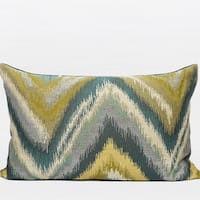 "G Home Collection Luxury Green And Blue Big Chevron Pattern Jacquard Pillow 14""X22"""
