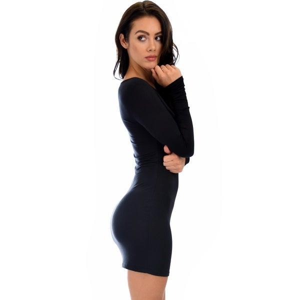 Shop Comeback Baby Long Sleeve Black Bodycon Dress Black Small