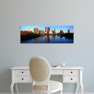 Easy Art Prints Panoramic Images's 'Scioto River and Columbus Ohio skyline, with setting sunlight' Premium Canvas Art