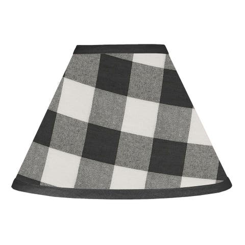 Black and White Buffalo Plaid Collection Lamp Shade - Woodland Rustic Country Farmhouse Check Deer Lumberjack