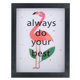 "Battery Operated LED Lighted Inspirational Flamingo Framed Light Box 9"" x 7"" - White"