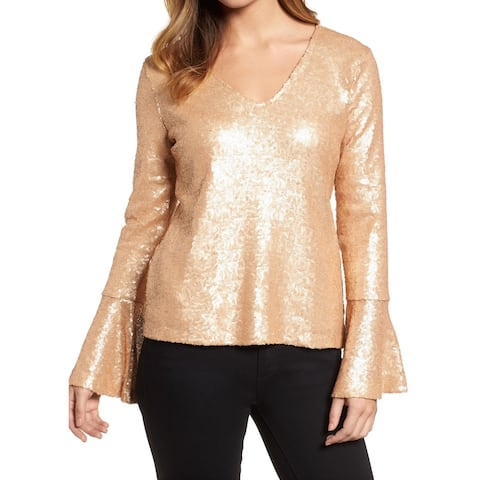 Halogen Gold Womens Size Medium M Sequined Bell-Sleeve Blouse