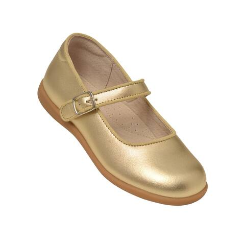 L`Amour Big Girls Gold Buckle Mary Jane Dress Shoes