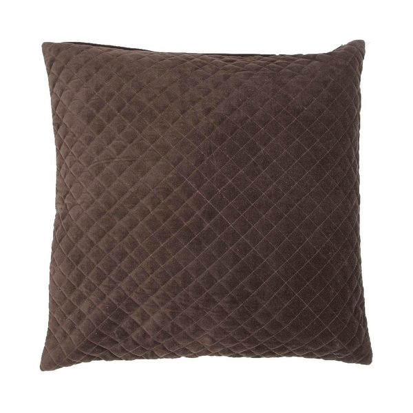 "22"" Solid Coffee Brown Quilted Decorative Throw Pillow"
