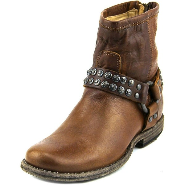 Frye Phillip Studded Harness Women Round Toe Leather Brown Ankle Boot