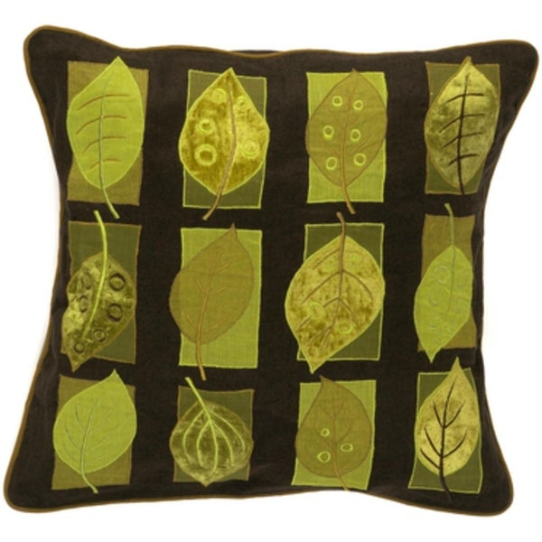 "22"" Chocolate Brown and Green Multi-Leaves Decorative Square Throw Pillow - Down Filler"