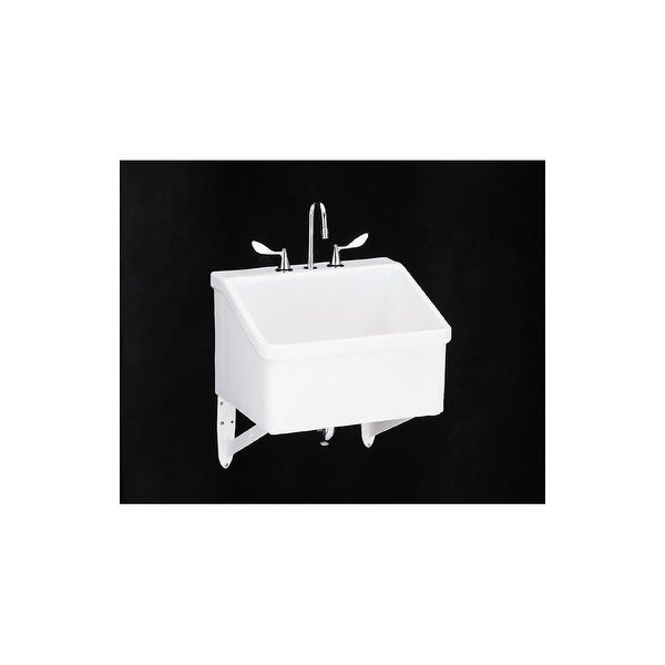 Utility Sink.Kohler K 12794 Hollister Utility Sink With Three Faucet Holes At 8 Centers