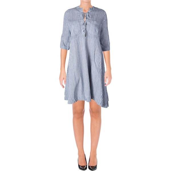 1834718f7a9 Shop 4Our Dreamers Womens Shirtdress Striped Lace Up - Free Shipping ...