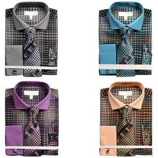 Men's Ombre Plaid Dress Shirt with Tie Handkerchief and Cufflinks