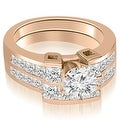 2.45 cttw. 14K Rose Gold Channel Set Diamond Princess and Round Cut Bridal Set - Thumbnail 0