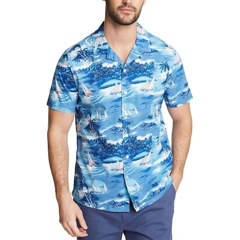 Nautica Blue Mens Big & Tall Button-Down Shirt Printed Stretch - Blue Sail