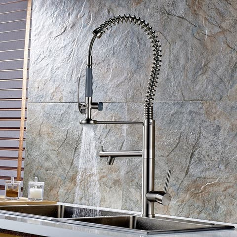 High Arch Spring Single Handle Kitchen Sink Faucet Pull Down Sprayer