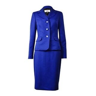 Le Suit Women's Quebec Pocket Jacquard Skirt Suit - sapphire multi
