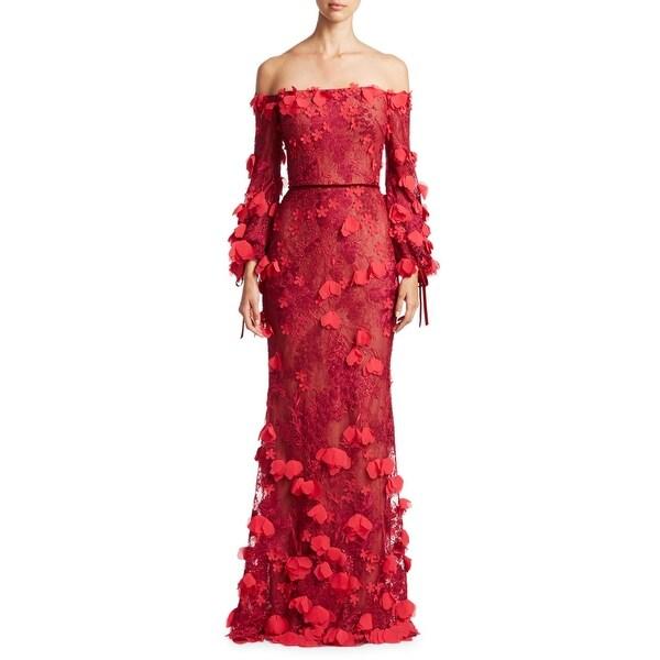 00f8cdefd45 Shop Marchesa Notte Petal Applique Off Shoulder Evening Gown Dress ...