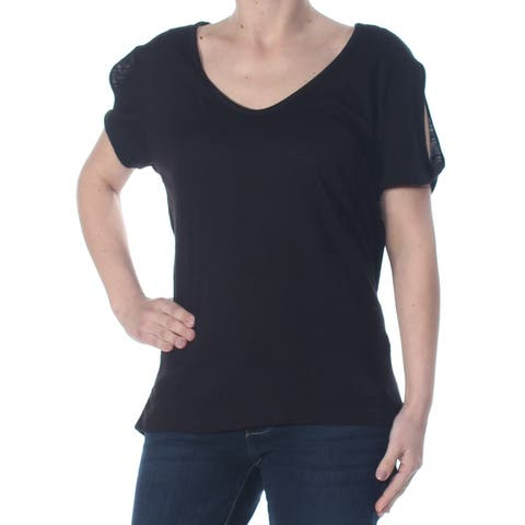 SANCTUARY Womens Black Cut Out Heather Short Sleeve Scoop Neck T-Shirt Evening Top Size: S