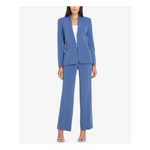 TAHARI Womens Blue Pocketed Blazer Wear to Work Jacket Size 2