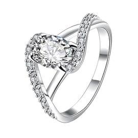 Petite Crystal Stone Swirl Design Twist Ring