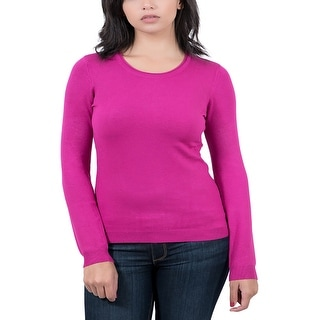 Real Cashmere Fuschia Crewneck Womens Sweater