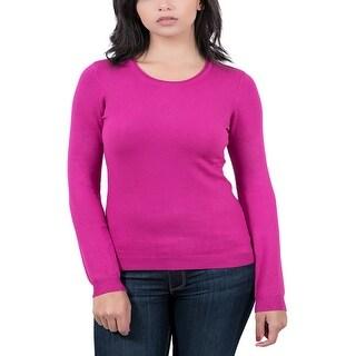 Real Cashmere Fuschia Crewneck Womens Sweater