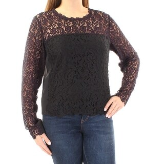 TAHARI $368 Womens New 1319 Black Purple Lace Long Sleeve Blouse L B+B