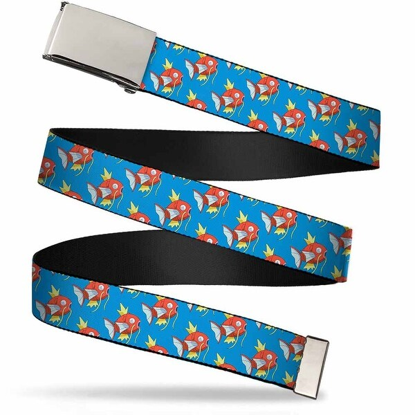 Blank Chrome Buckle Magikarp Monogram Blue Webbing Web Belt