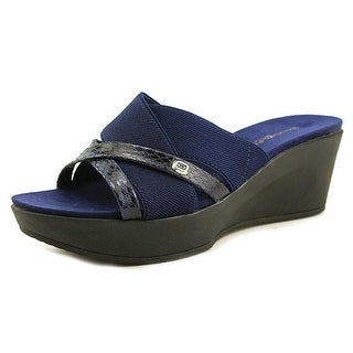 Bandolino Donovan Women Open Toe Canvas Blue Wedge Sandal