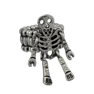 Pewter Skeleton Stretch Ring with Free Moving Limbs and Rhinestone Accents