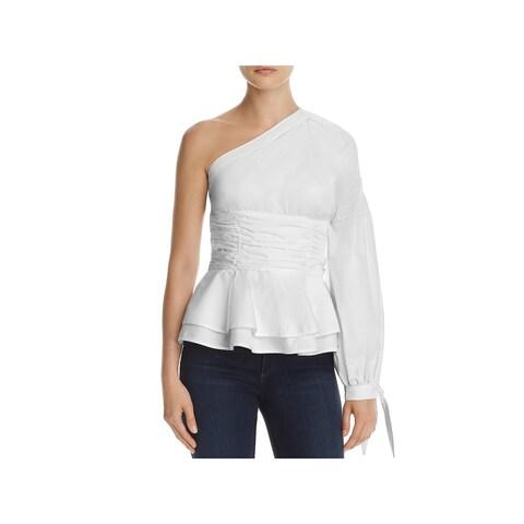 Parker Womens Burch Blouse One-Shoulder Tie-Cuff
