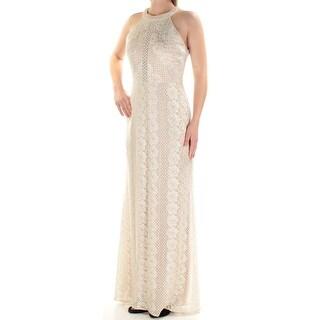 Womens Ivory Floral Maxi Sheath Evening Dress Size: 10