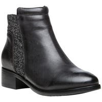 Propet Women's Taneka Plain Toe Bootie Black Full Grain Leather